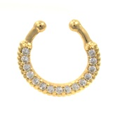 Gold Plated 15 Clear CZ Paved Fake Septum Ring