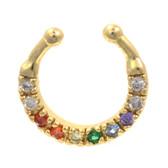 Fancy 10-Gem Rainbow/Gold Fake Septum Ring Jewelry