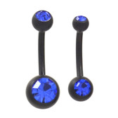 Black Matte Plated Blue Double Gem Belly Ring (2 Sz)