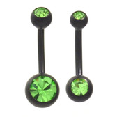 Black Matte Plated Green Double Gem Belly Ring (2 Sz)
