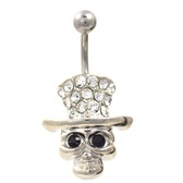 Stylish Skull w/Tophat Belly Button Ring