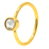 Gold Plated CZ Nose Hoop Ring 20 Gauge 5/16""