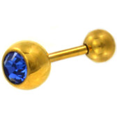 Blue CZ Sparkle Gold-Tone Barbell 16g 1/4""