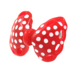 Red/White Polka Dot Bow Cartilage Earring Stud 18g