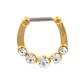 Gold Plated Septum Clicker w/5 Clear CZ's 16G 9mm