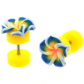 Yellow & Blue Tropical Flower Fake Plug Earrings