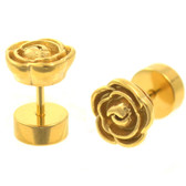 Gold Plated Carved Metal Rose Fake Plug Earrings