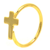 Gold Plated Cross Nose Hoop Ring 20 Gauge 5/16""