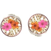 "Real Pink/Orange Flower Center Steel Plugs (00g-1"")"