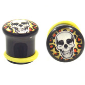 "Skull & Leopard Print Single Flared Plugs (2g-5/8"")"