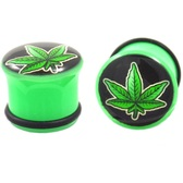 "Black/Green Pot Leaf Single Flared Plugs (2g-5/8"")"