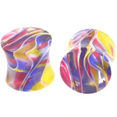 "Blue/Yellow/Red Crazy Swirl Ear Plugs (8g-5/8"")"