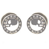 "Skull Face & Gem Rim Ear Tunnel Plugs (2g-5/8"")"