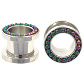 "Rainbow Bead Linked Rim Screw On Tunnels (4g-5/8"")"