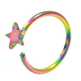 Rainbow Plated Star Nose Hoop Ring 20 Gauge 5/16""