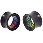 "Multi Color Zebra Inlay Acrylic Tunnel Plugs (0g-1"")"