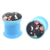 "Blue Acrylic Galaxy Logo Single Flared Plugs (2g-1"")"