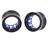 "Blue/Clear Gem Lined Interior Tunnels Plugs (0g-1"")"