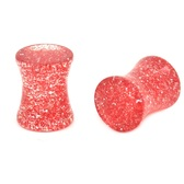 "Solid Red Glitter Saddle Ear Plugs (8g-5/8"")"
