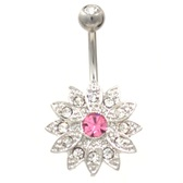 Gem Encrusted Pointy Flower Belly Button Ring