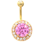 Extravagant Gold Plated Pink/Clear CZ Belly Ring