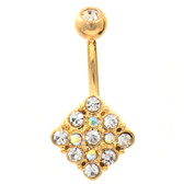 Gem Paved Rhombus Gold Plated Belly Ring