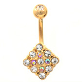 Paved Clear/Pink Rhombus Gold Plated Belly Ring