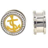 "Gold Anchor CZ Gem Rim Steel Tunnels (0g-15/16"")"