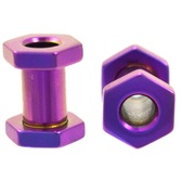 Purple Titanium Hexagon Screw Tunnels (10g-00g)