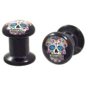 "Multi Colored Sugar Skull Logo Acrylic Plugs (4g-1"")"