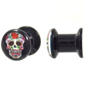 "Red & White Sugar Skull Logo Acrylic Plugs (4g-1"")"