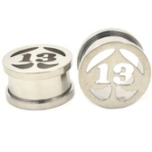 "Steel Lucky 13 Spade Screw Ear Plug Tunnels (0g-1"")"