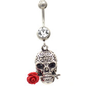 Be My Valentine Skull Belly Ring (Clear Gems)