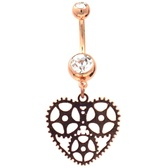 Steampunk Heart Rose Gold Plated Belly Ring