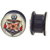 "Floral Anchor Logo Screw-Fit Acrylic Plugs (4g-5/8"")"