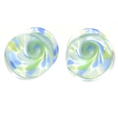 "Blue & Green Wild Swirl Pyrex Glass Plugs (2g-5/8"")"