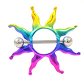Rainbow Tribal Sun Nipple Shield Piercing 14g 3/4""