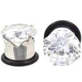 Prong Set Clear CZ Gem Single Flared Plugs (10g-00g)