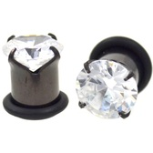 Black Titanium Single Flared CZ Bling Plugs (10g-00g)