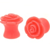 "Coral Pink Rosebud Double Flared Plugs (4g-5/8"")"