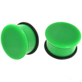 "Green Single Flared Solid Acrylic Plugs (10g-1"")"