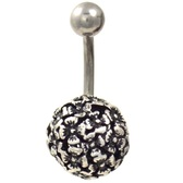 Etched Floral Ball Belly Button Ring