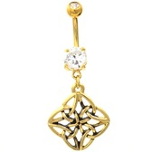 4 Sided Celtic Knot Gold Plated Belly Ring