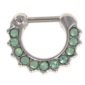 Green Opalized 11-Stone Septum Clicker 16G