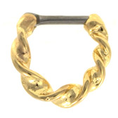 Gold Plated Twisted Hoop Septum Clicker 16G 1/4""