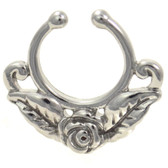 Rose & Leaves Fake Septum Ring Jewelry