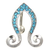 Aqua Gem Paved Double Curl Reverse Belly Ring