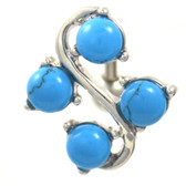 4 Gem Turquoise Stone Vine Reverse Belly Ring