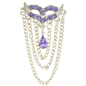 Purple Masquerade Mask Draped Chains Belly Ring