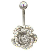 Aurora Borealis Gem Sprinkled Rose Belly Ring